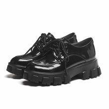 Load image into Gallery viewer, Thick Platform Black Leather Shoes
