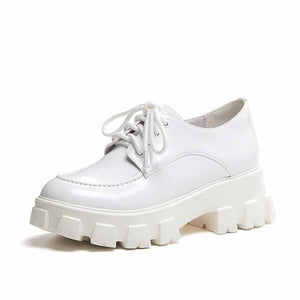 Thick platform white leather shoes