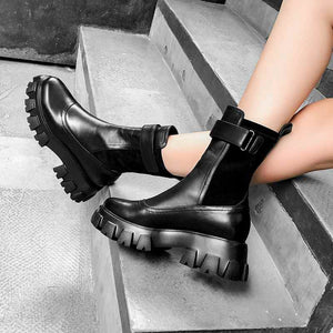 Platform Ankle Leather Boots