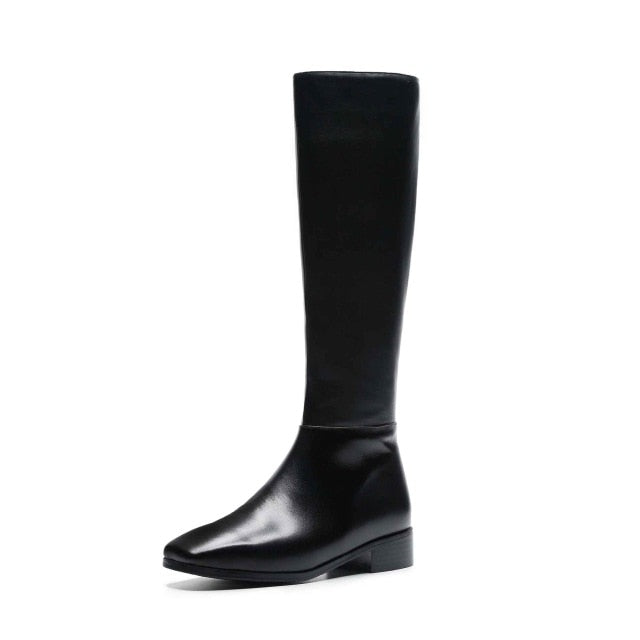 Genuine leather square toe boots