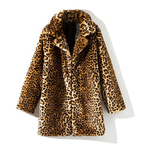 Leopard Women Jacket Mid-Long Faux Fur Coat Women Slim Casual Fur Jackets Female 2019