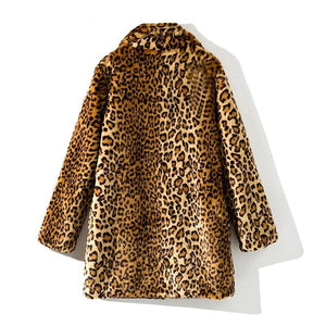 Leopard Women Jacket Mid-Long Faux Fur Coat Women Slim Casual Fur Jackets Female