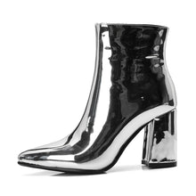 Load image into Gallery viewer, Sliver & Gold Metallic Ankle Boots