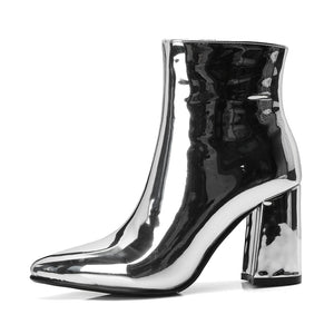 Sliver & Gold Metallic Ankle Boots