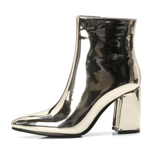 gold metallic ankle boots women high heel