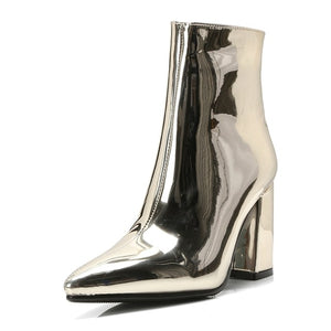 golden ankle boots for women high heel