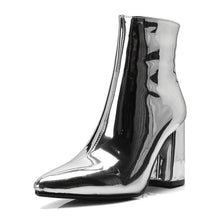 Load image into Gallery viewer, silver metallic ankle boots high heel