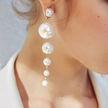 Load image into Gallery viewer, pearl threader long earrings bubbles