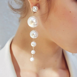 pearl threader long earrings bubbles