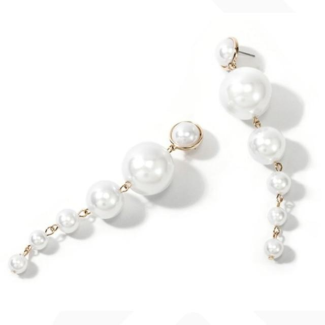 pearl threader long earrings