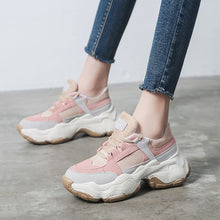 Load image into Gallery viewer, trendy pink rose beige chunky sneakers on platform