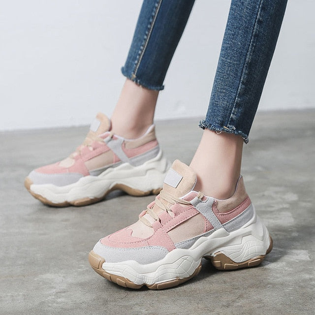 trendy pink rose beige chunky sneakers on platform