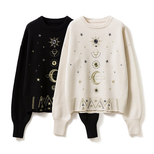 cosmic stars moon knit sweater pullover for women offwhite beige black with golden embroidery o-neck line