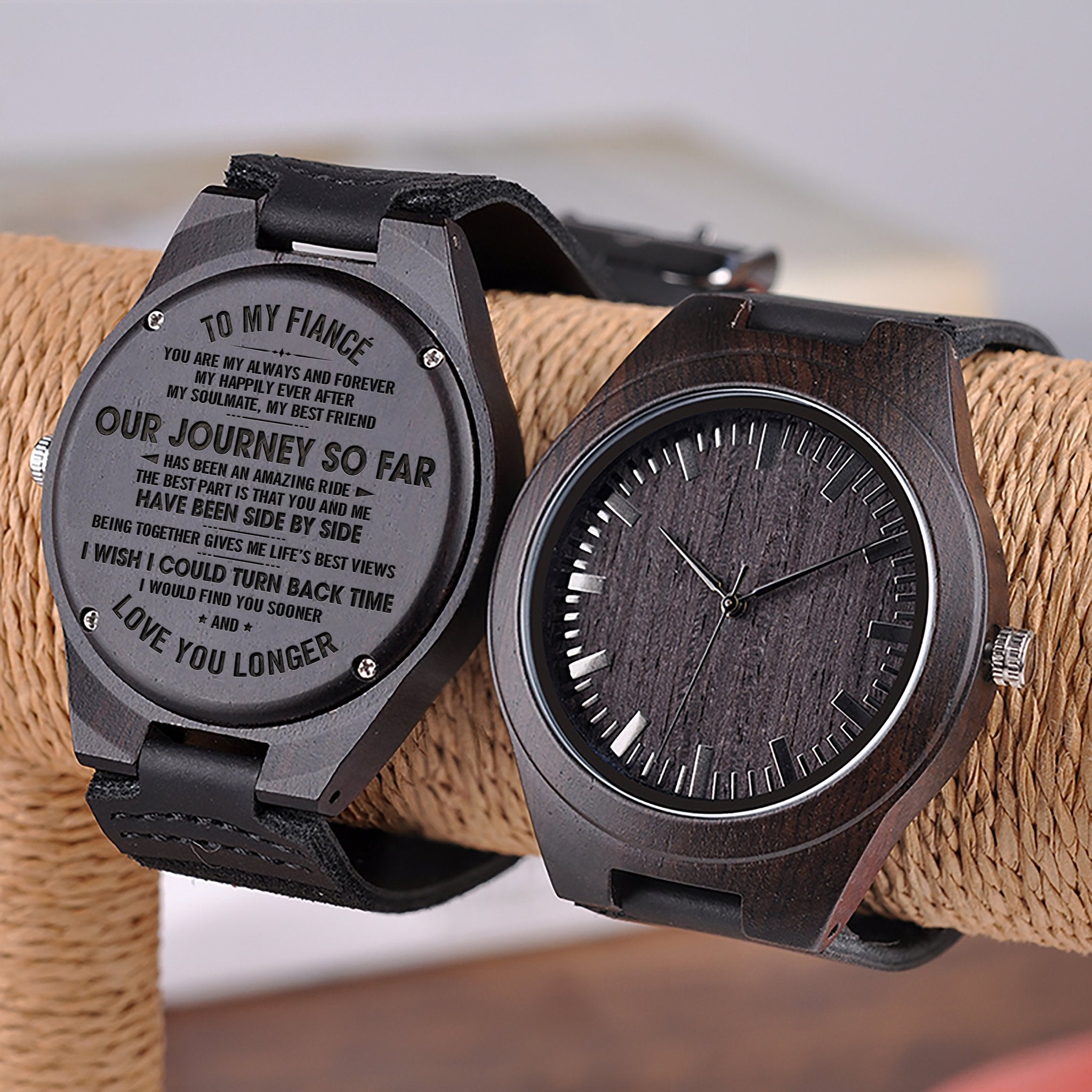 our journey so far for fiancÉ engraved wooden watch the pretty gifts