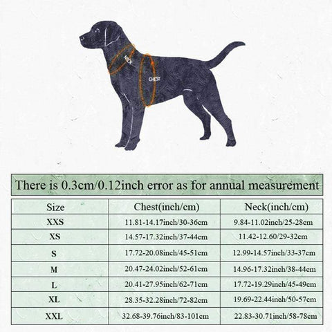 TrueLove Cooling Jacket Sizing Chart | Pawsome Pets Supply