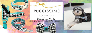 Puccissime pet coture designer pet fashion harness collar leash bowtie suited for small to large breed dogs