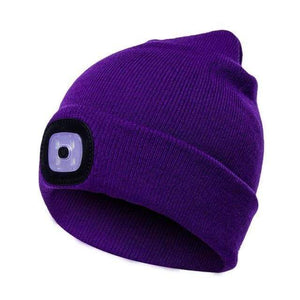 Warm Knit Winter Toque with built in LED Light A - Purple