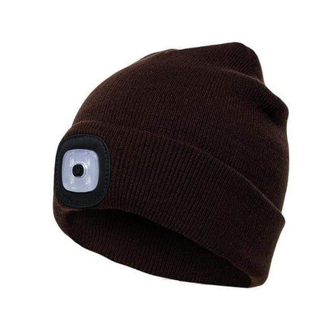 Warm Knit Winter Toque with built in LED Light B - Black