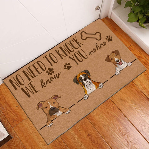 Entrance Welcome Mat with Three Dog Pattern