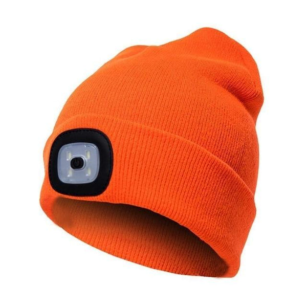 Warm Knit Winter Toque with built in LED Light K - Orange
