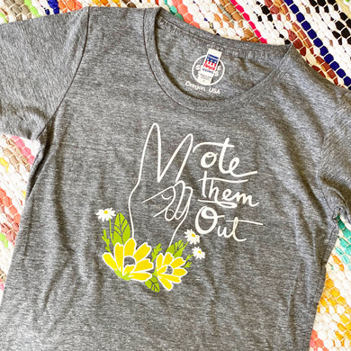 VOTE THEM OUT Women's Grey Organic Tee