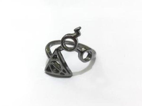 Harry Potter Lightning, Glass, And Deathly Hallows Spiral Ring