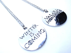 Game Of Thrones Valar Morghulis Winter is Coming Necklace Pair