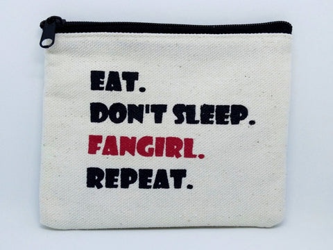 Eat Sleep Fangirl Coin Purse