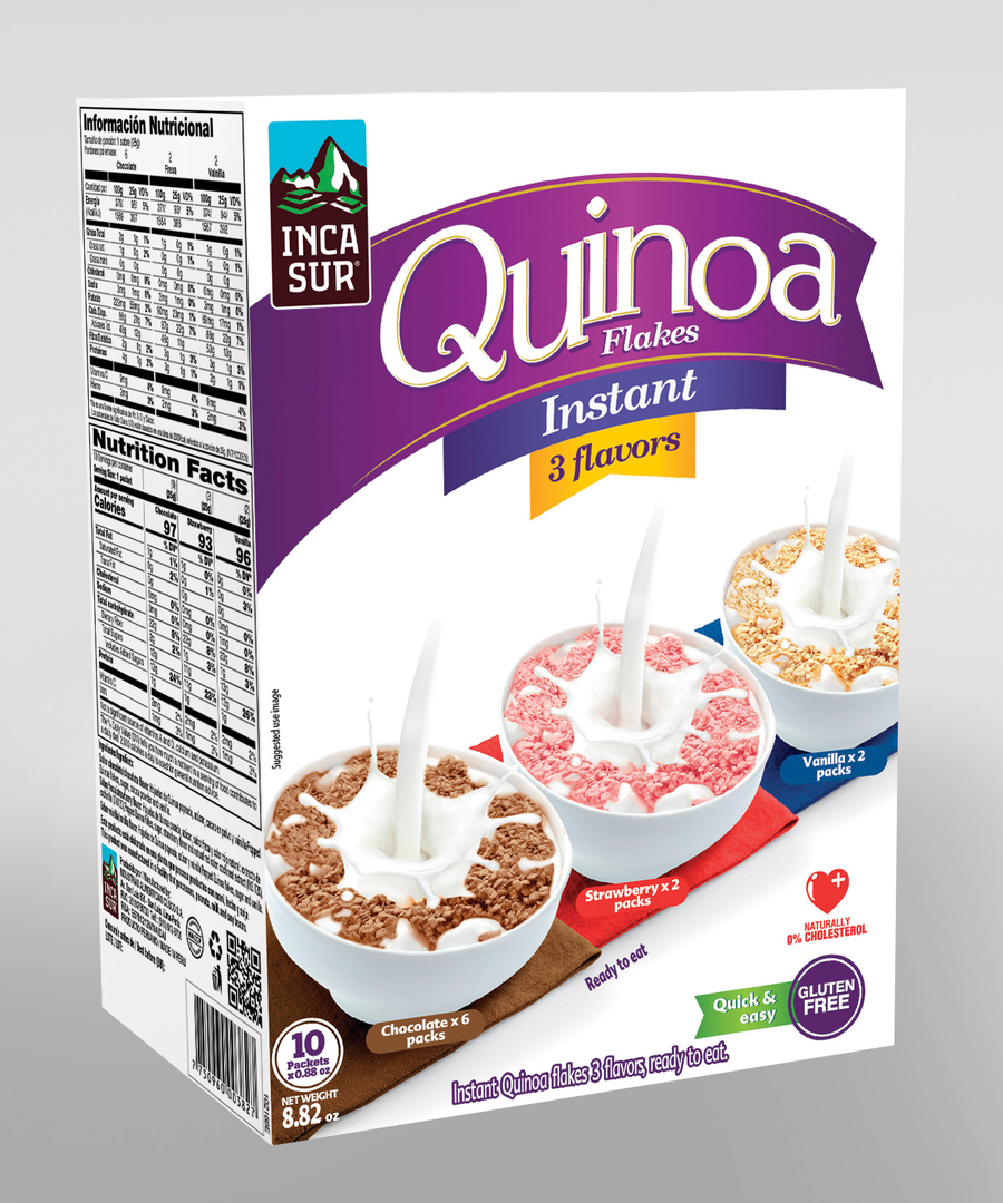 Inst quinoa Flakes Incasur 3flavors (Chocolate, Strawberry, Vanilla) x 250g x Display