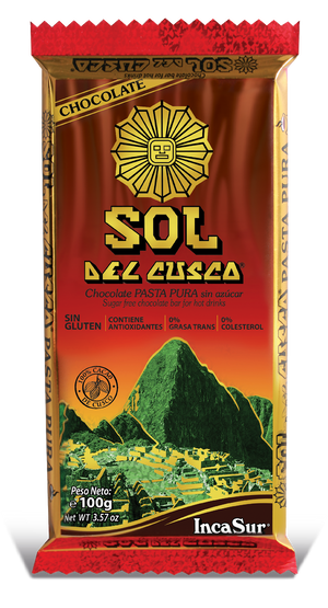 "Pure Paste Bar "" Sol del Cusco"" Traditional (Pure paste of Peruvian cocoa grain) x 100gr"