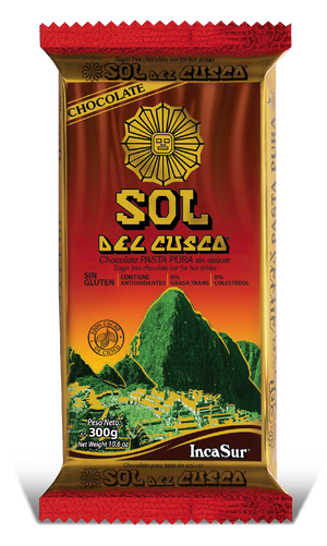 "Pure Paste Bar "" Sol del Cusco"" Traditional (Pure paste of Peruvian cocoa grain) x 300gr"