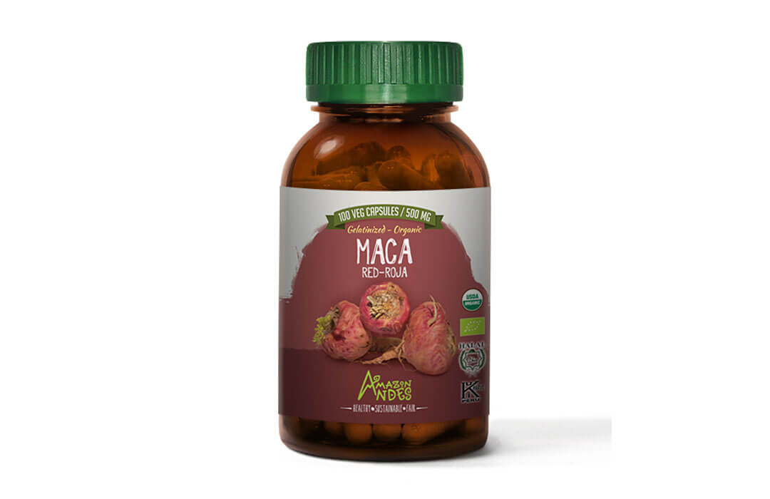Red Maca capsules (100 x 500 mg) USDA NOP and EU organic