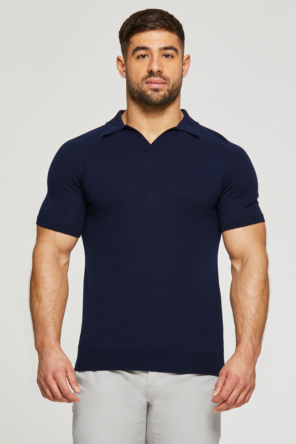 Merino Wool Buttonless Polo Shirt in Navy