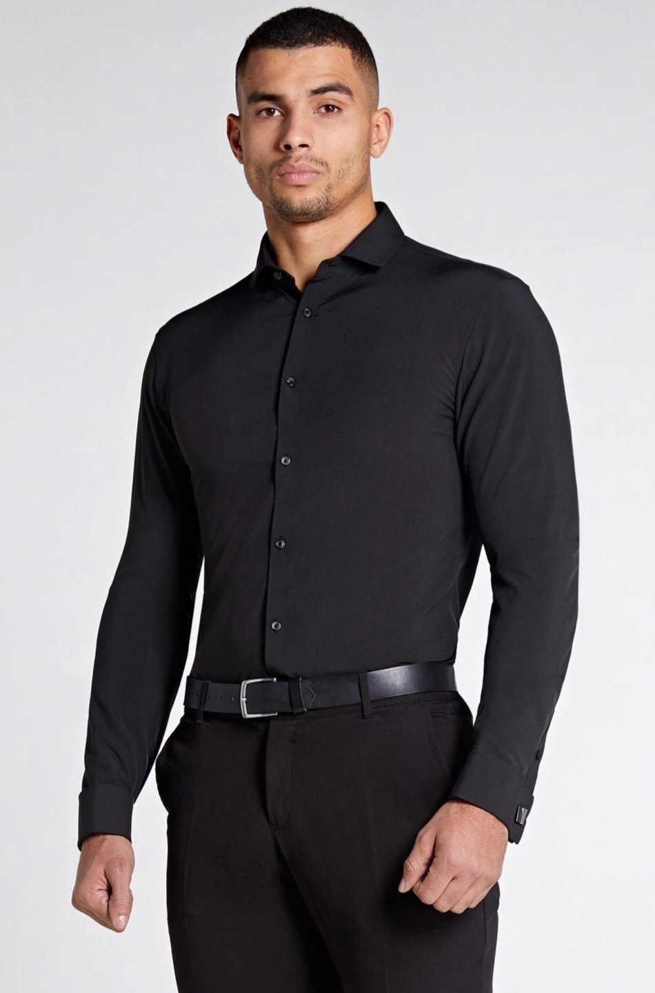 Elite Double Cuff Shirt In Black