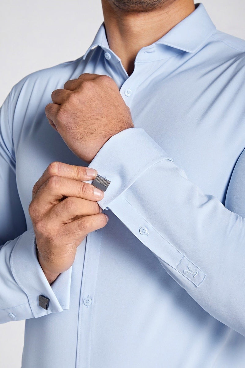 Elite Double Cuff Shirt In Light Blue