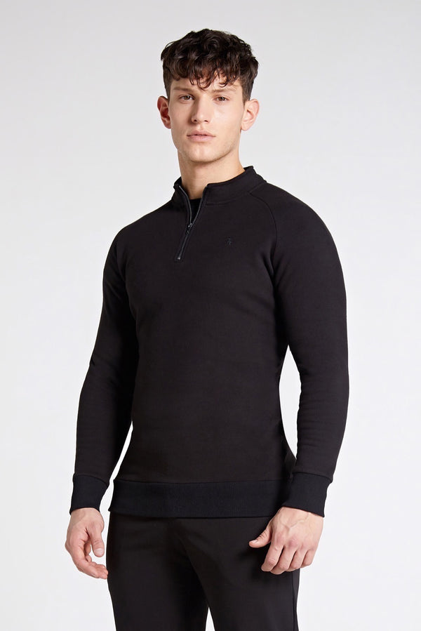 Essential Half Zip Sweater in Black