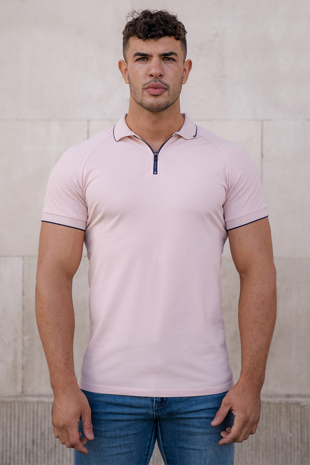 Piqué Zip Polo Shirt in Light Pink