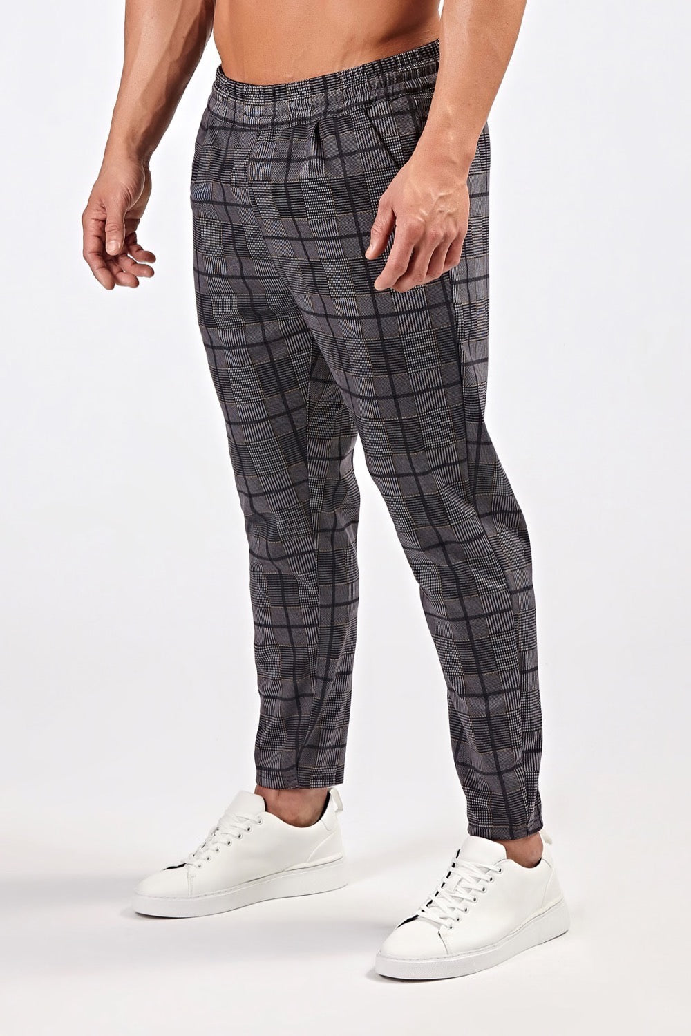 Smart Joggers in Grey/Yellow Check