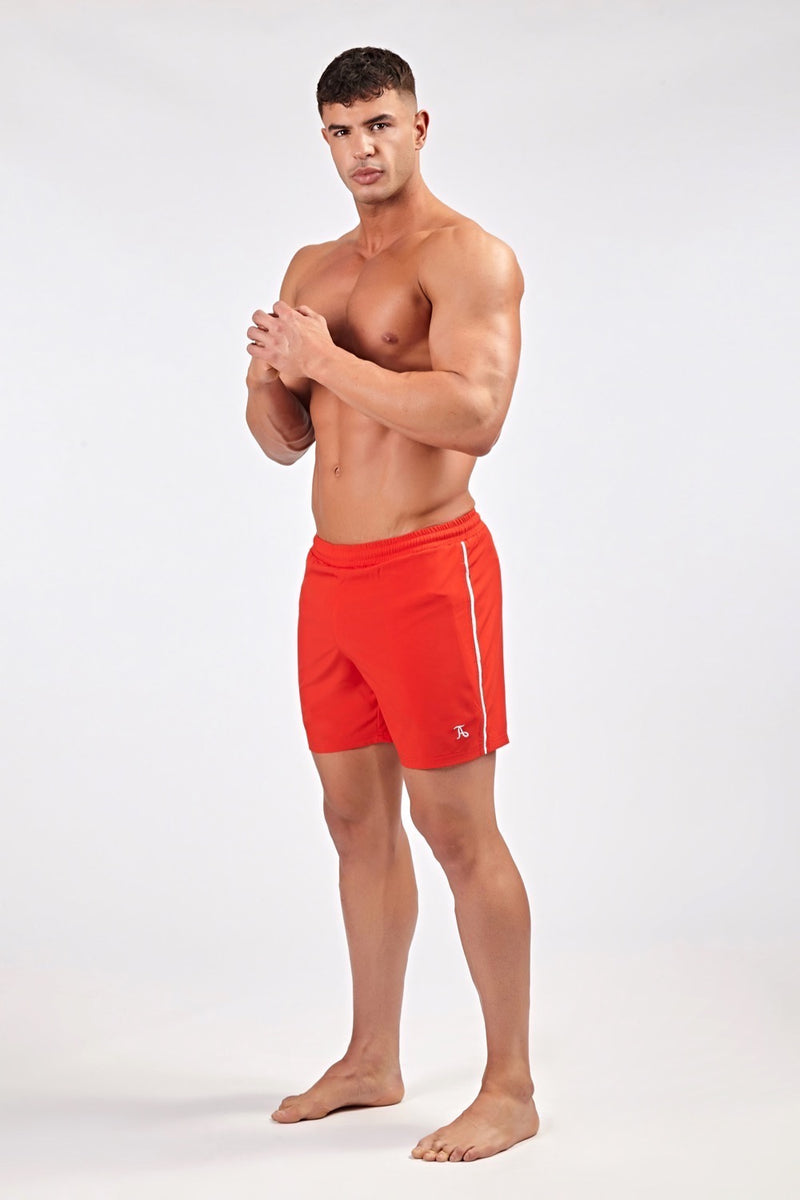 Stretch Swim Shorts in Red