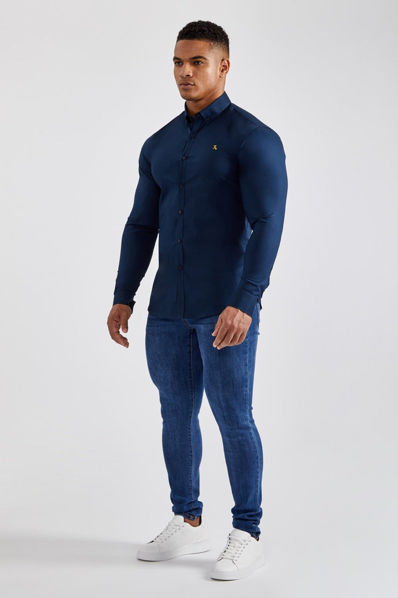 Essential Stretch Shirt in Navy