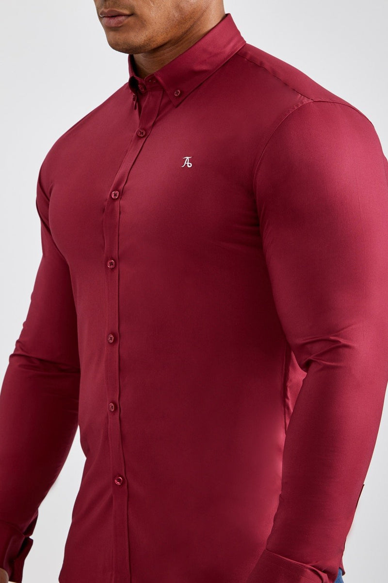 Essential Stretch Shirt in Burgundy