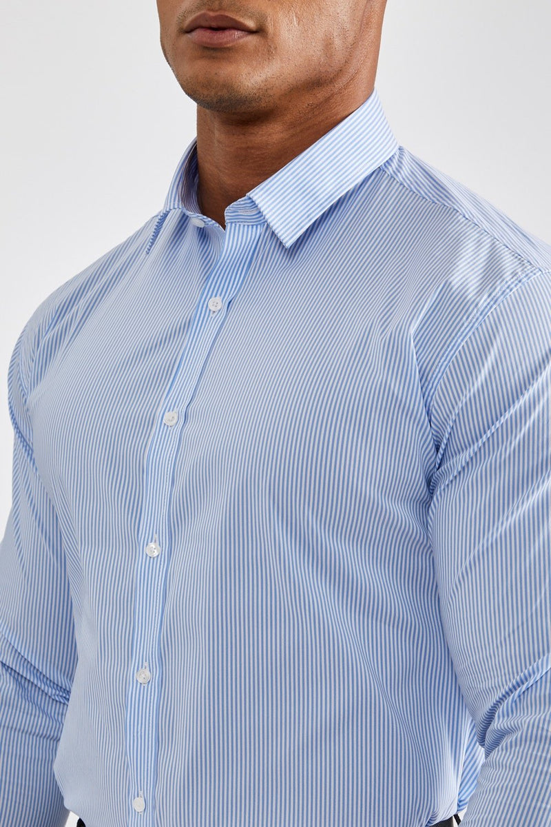 Premium Business Shirt in Striped Light Blue