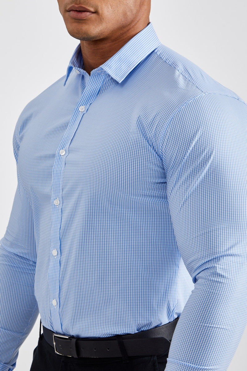 Premium Business Shirt in Checked Light Blue