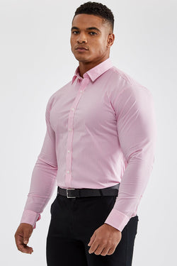 Premium Business Shirt in Striped Pink