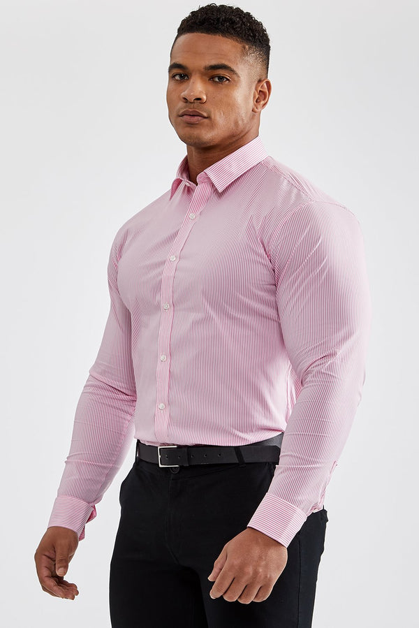 Essential Business Shirt in Striped Pink
