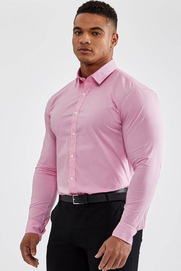 Essential Business Shirt in Checked Pink