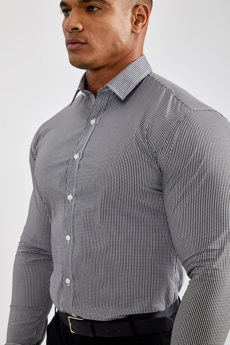 Premium Business Shirt in Checked Black