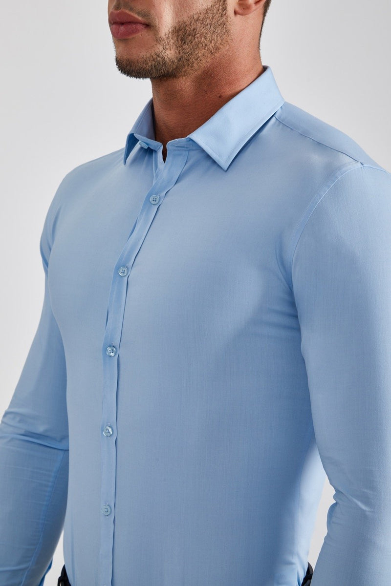 Stretch Bamboo Shirt in Sky Blue