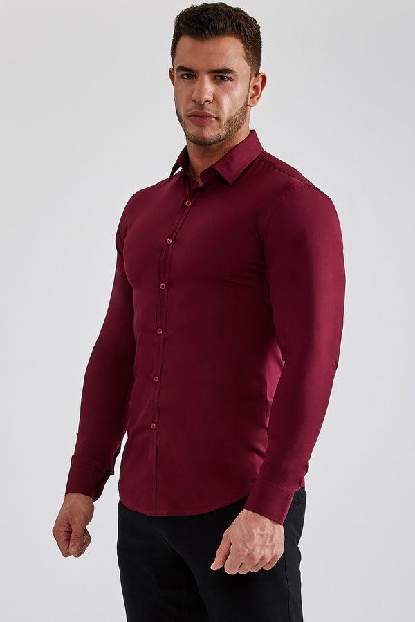Stretch Bamboo Shirt in Burgundy