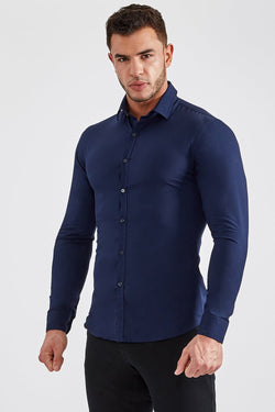 Stretch Bamboo Shirt in Navy